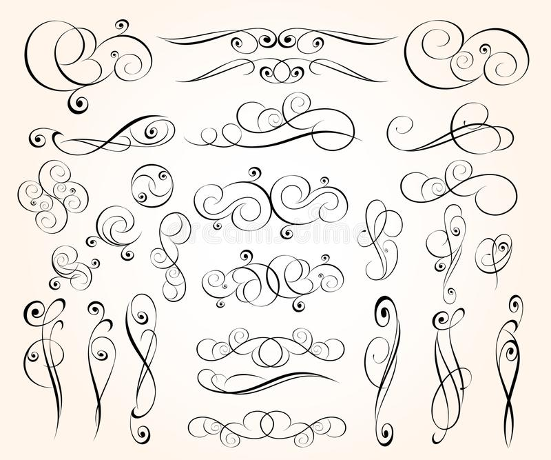 Vastgestelde elegante decoratieve rolelementen Vector illustratie royalty-vrije illustratie