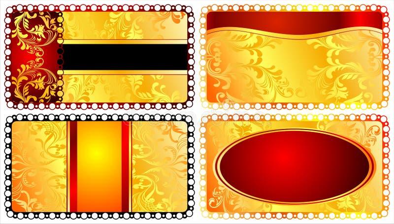 Vastgestelde elegante malplaatjes voor groetkaarten. 02 (Vector) royalty-vrije illustratie