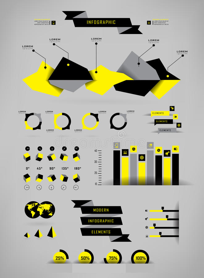 Vastgestelde elementen van infographics royalty-vrije illustratie