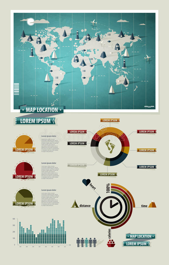 Vastgestelde elementen van infographics. De Kaart van de wereld vector illustratie