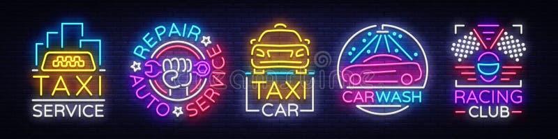 Vastgestelde emblemen in het Vervoer van de neonstijl Ontwerpmalplaatje, de Inzameling van Neontekens, de Autodienst, Garage, het royalty-vrije illustratie