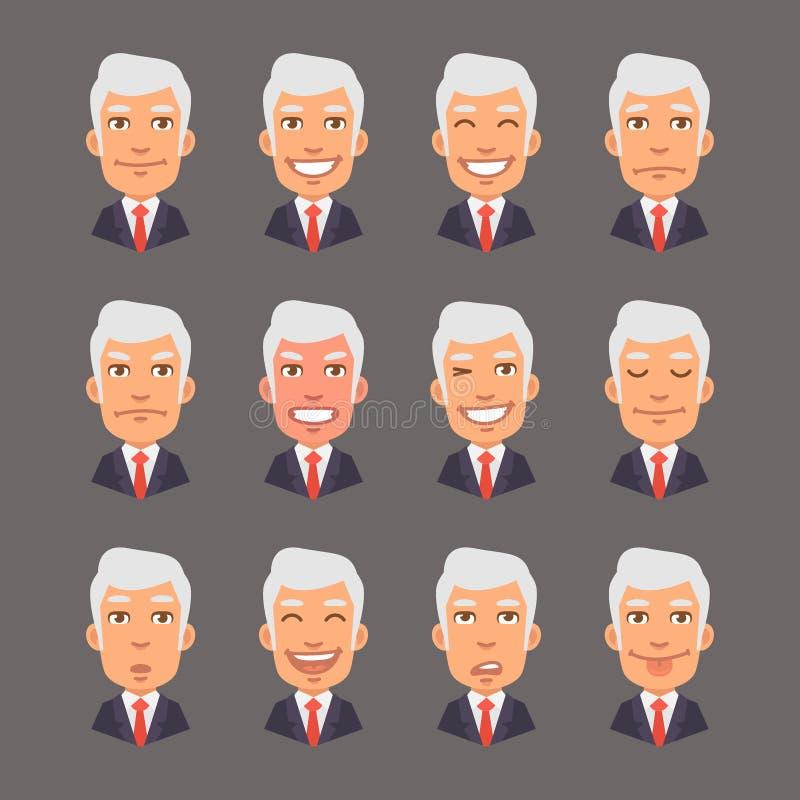 Vastgestelde Emoties met Gray Hair Businessman royalty-vrije illustratie