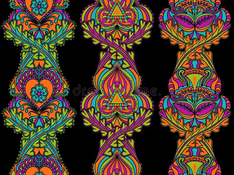 Vastgestelde etnische naadloze verticale patronen van gekleurde linten vector illustratie