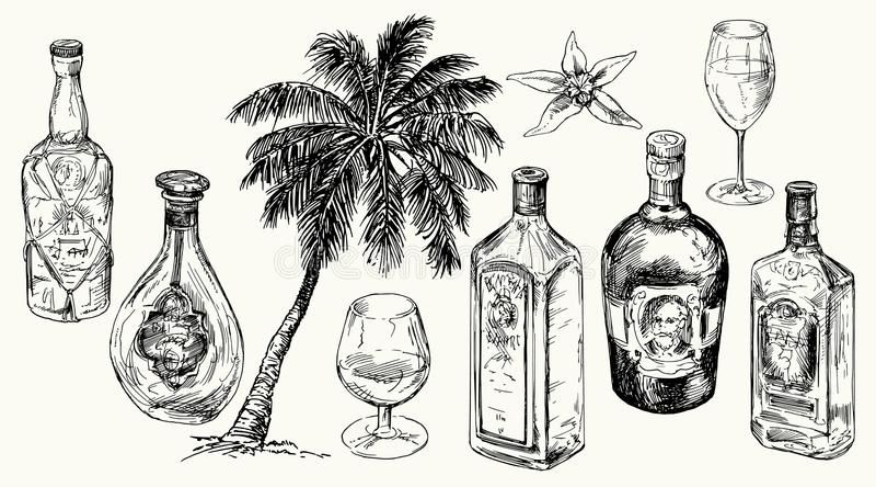 Vastgestelde fles voor rum vector illustratie