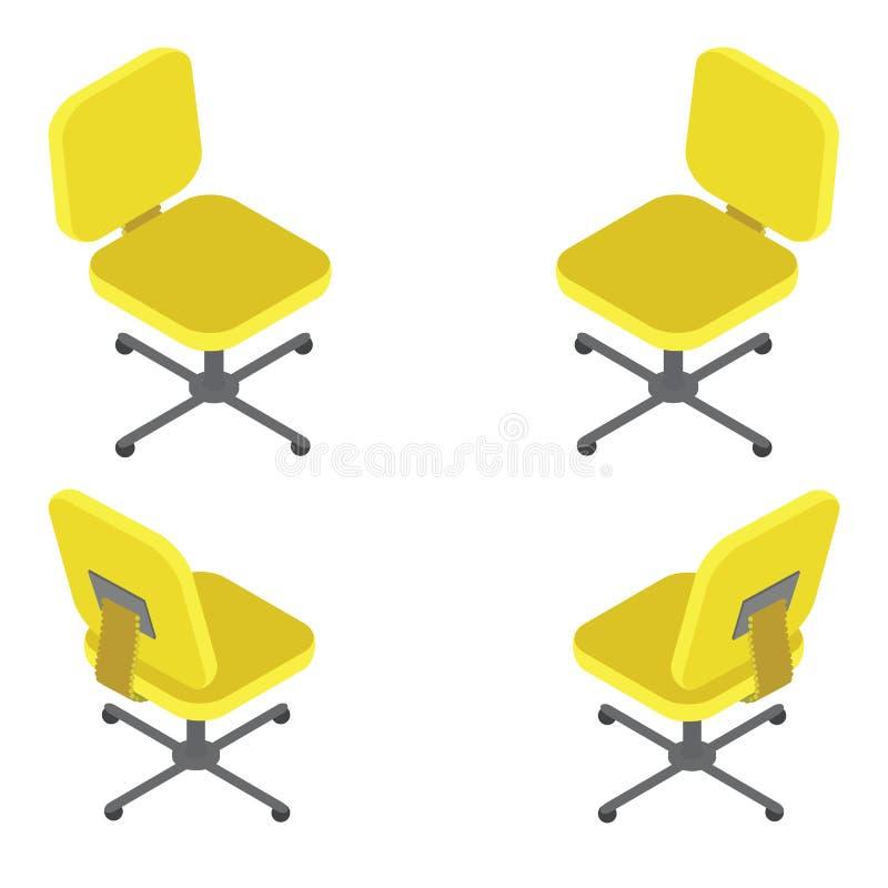 Vastgestelde gele bureaustoel op witte achtergrond Vlakke 3d isometrische vectorillustratie royalty-vrije illustratie