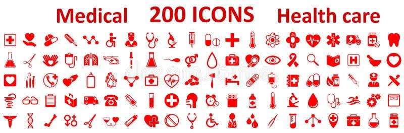 Vastgestelde Geneeskunde en Gezondheids vlakke pictogrammen De medische pictogrammen van de inzamelingsgezondheidszorg royalty-vrije illustratie