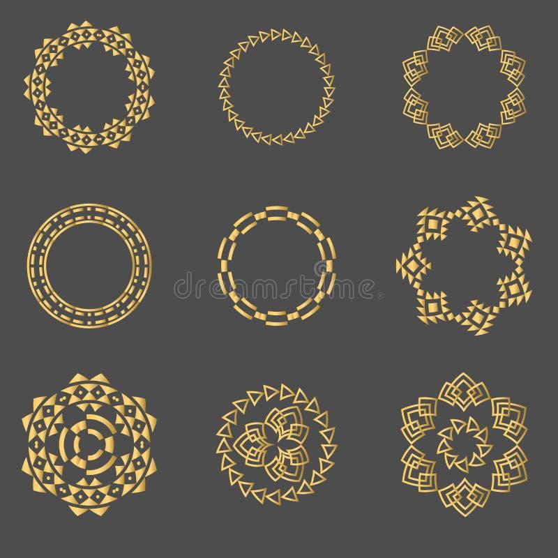 Vastgestelde geometrische tekens, etiketten, en kaders driehoeken De elementen van het lijnontwerp, illustratie stock illustratie