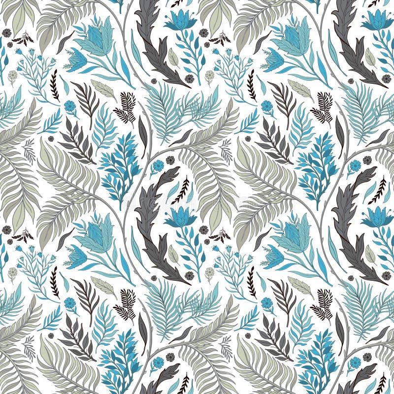Vastgestelde getrokken de inzamelingshand van de patroon naadloze Abstracte aard Etnisch ornament, bloemendruk, textielstof, bota vector illustratie
