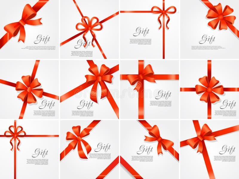 Vastgestelde Gift Rood breed lint Heldere Boog met Twee Bloemblaadjes royalty-vrije illustratie