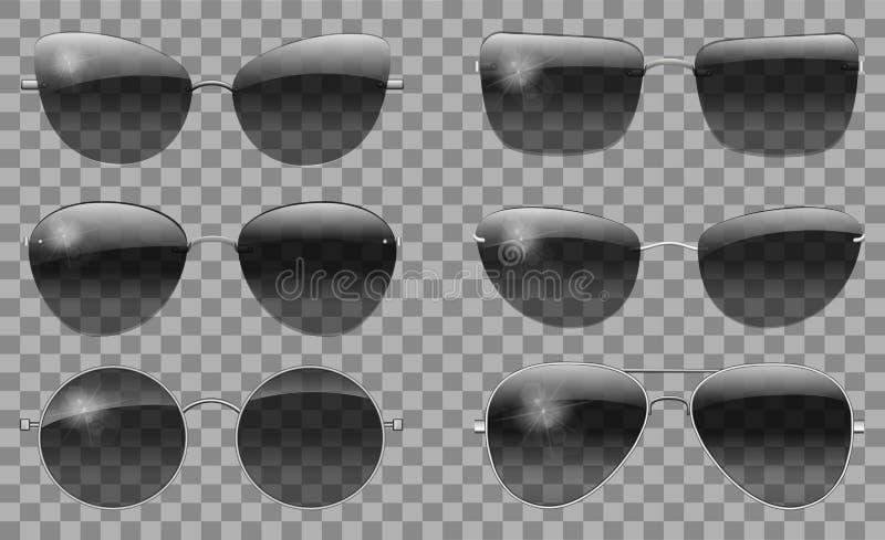 Vastgestelde glazen verschillende vorm teashades de ronde futuristische smalle vlinder van het de vliegenierstrapezoïde van Polit royalty-vrije illustratie