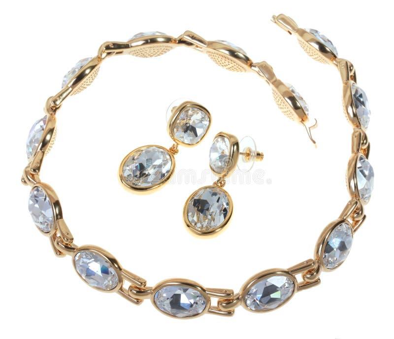 Vastgestelde goud geplateerde juwelen stock foto