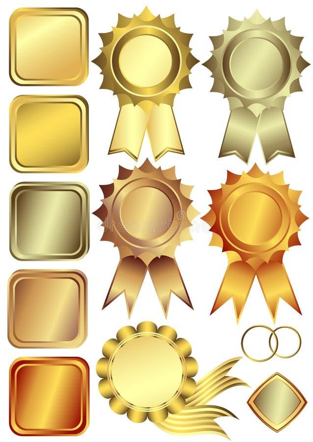 Vastgestelde goud, zilver en bronsframes stock illustratie