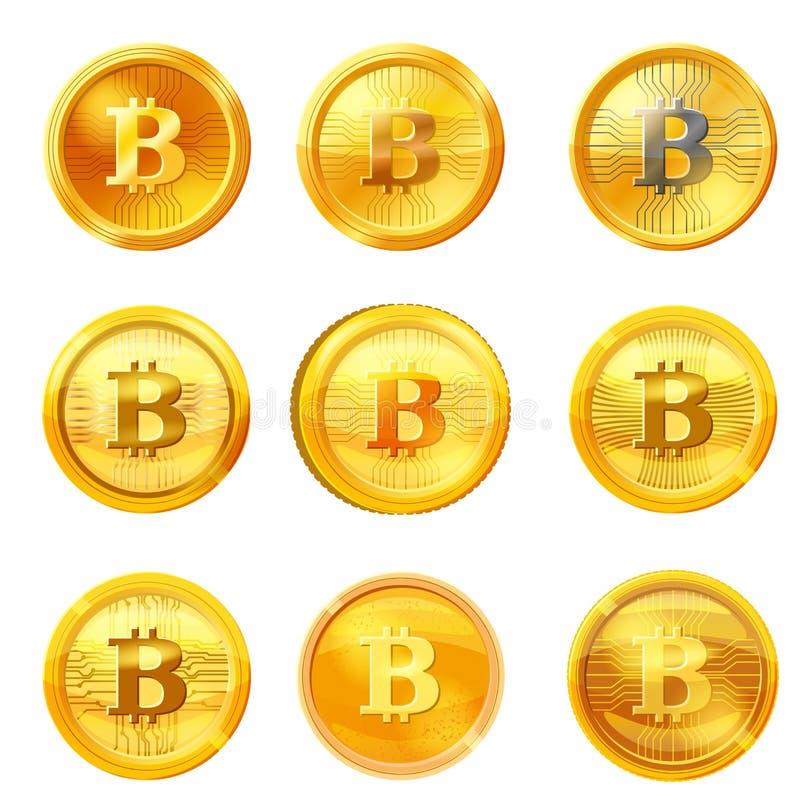 Vastgestelde gouden bitcoinmuntstuk geïsoleerde achtergrond De vectorillustratie van het Cryptocurrencyteken vector illustratie