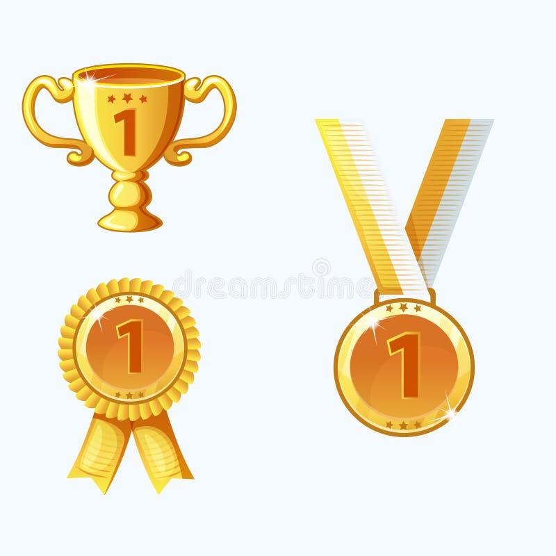 Vastgestelde gouden medailles en toekenning, trofee royalty-vrije illustratie