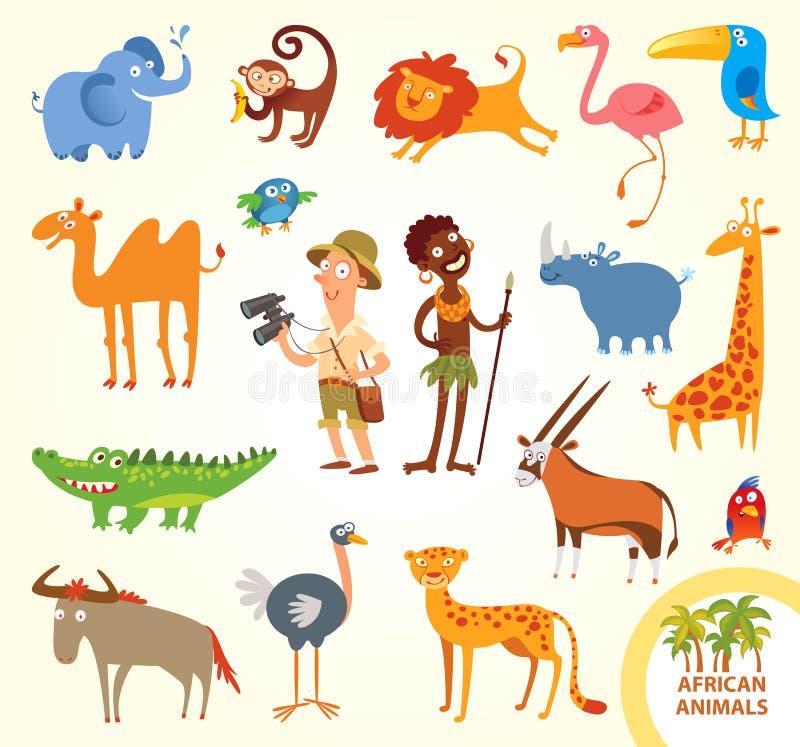 Vastgestelde grappige Afrikaanse kleine dieren stock illustratie
