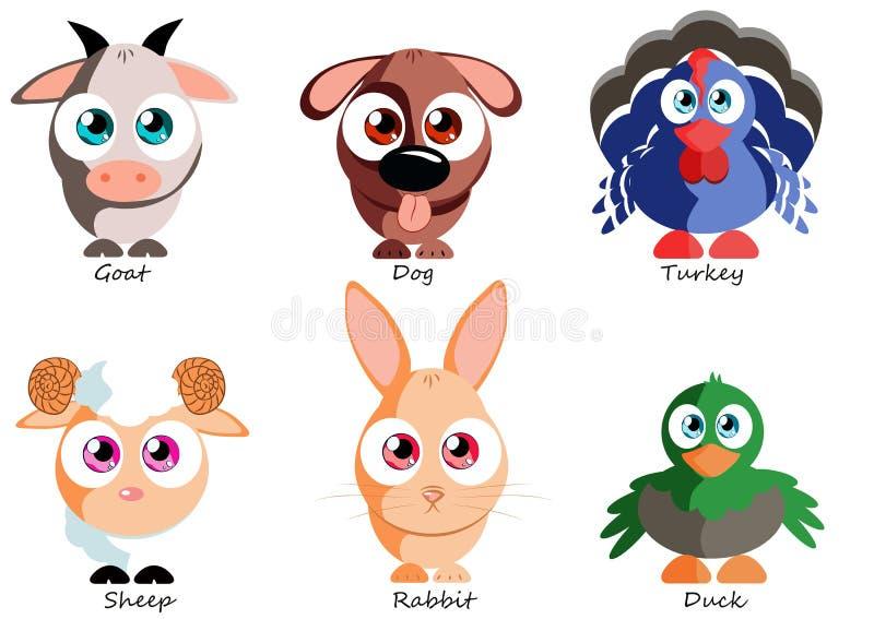 Vastgestelde grappige huisdieren voor gebruik als stickers, boeken, spelen en andere produ royalty-vrije illustratie