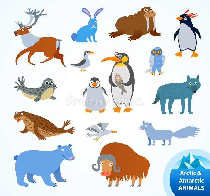 Vastgestelde grappige Noordpool en Antarctische dieren stock illustratie