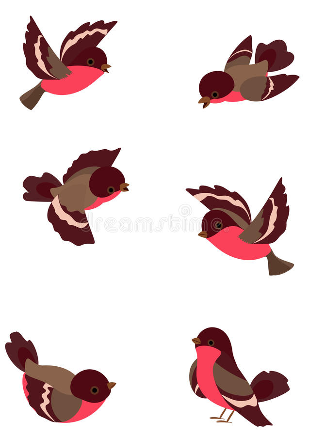 Vastgestelde grappige vogels stock illustratie