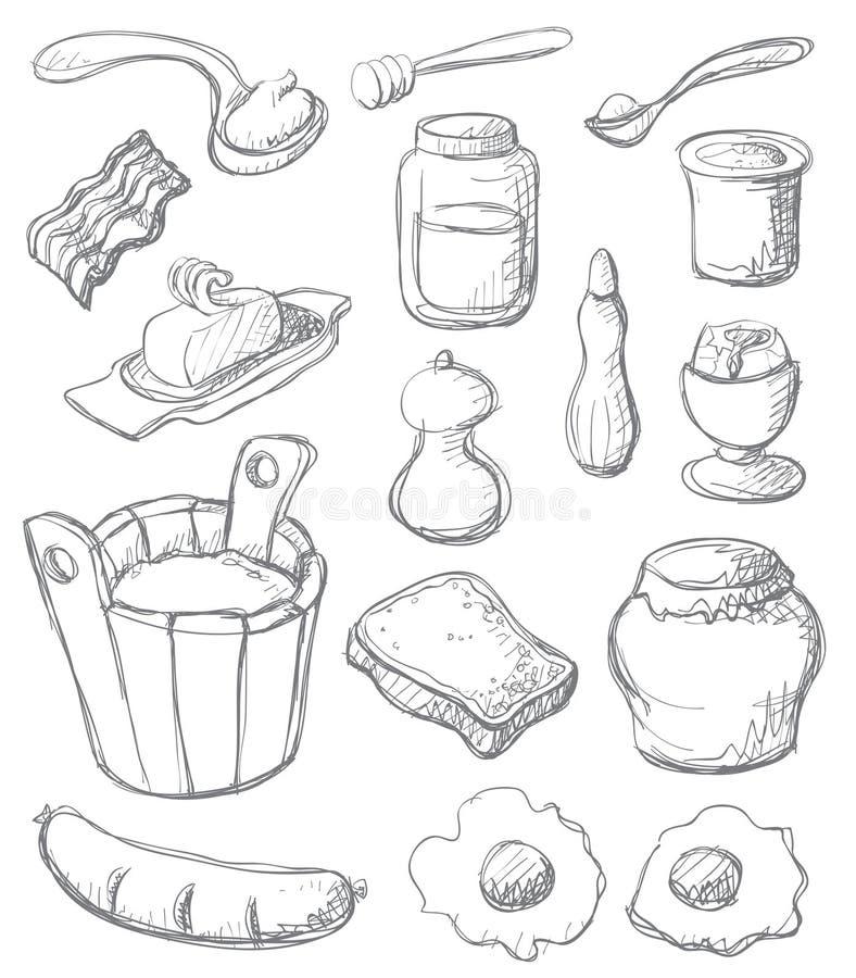 Vastgestelde grijs van het ontbijt vector illustratie