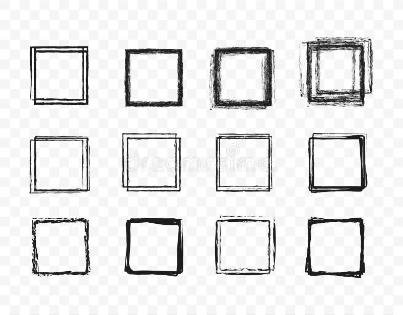 Vastgestelde hand getrokken de schetsreeks van de cirkellijn Vierkante krabbel voor het element van het het tekenontwerp van de b royalty-vrije illustratie