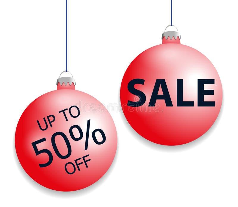 Vastgestelde hangende rode Kerstmisballen en verkoopkorting Decoratieve die snuisterijenelementen op witte achtergrond voor vakan vector illustratie