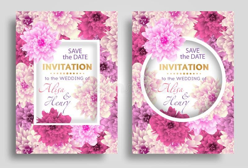 Vastgestelde het malplaatje elegante achtergrond van de huwelijksuitnodiging met de mooie kaart van de bloemengroet Vector vector illustratie