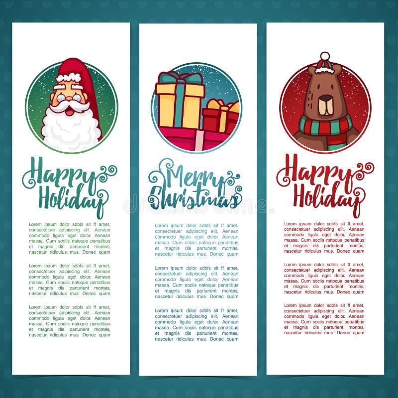 Vastgestelde het Nieuwjaar` s verticale banner van het ontwerpmalplaatje Vastgestelde brochure, de affiche van prentbriefkaarkers royalty-vrije illustratie
