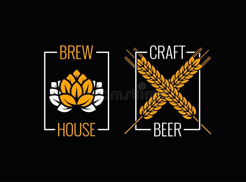 Vastgestelde het ontwerpachtergrond van het bierembleem royalty-vrije illustratie