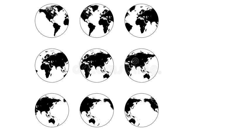 Vastgestelde het pictogram verschillende hoeken van de bolwereld, vectorkaart van aarde om bol vector illustratie
