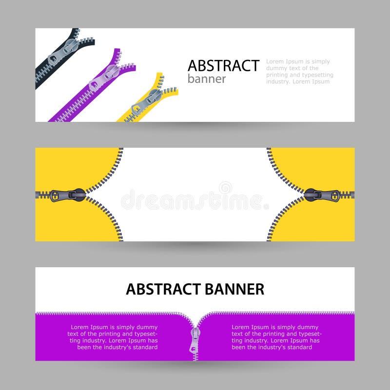 Vastgestelde horizontale banners met lege plaats voor tekst metaalritssluitingen stock illustratie