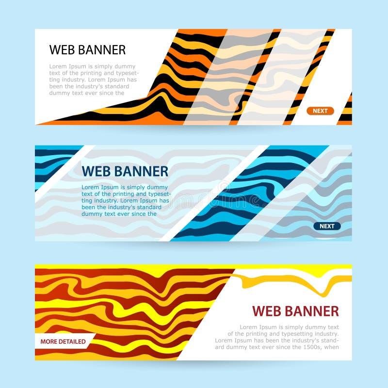 Vastgestelde Horizontale kleurenbanners met Witboek Overzeese van de de zomerbanner golven en geel zand vector illustratie