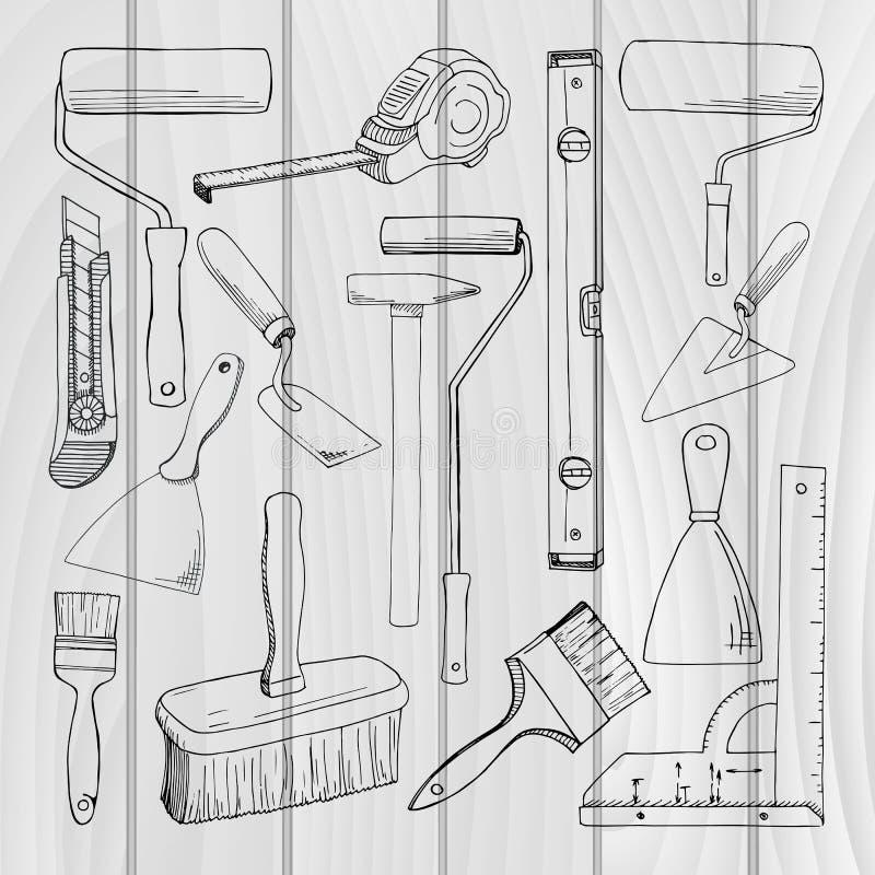 Vastgestelde hulpmiddelen die de bouw schilderen Verschillende die hulpmiddelen op witte achtergrond worden geïsoleerd stock illustratie