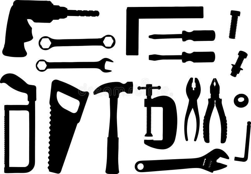 Vastgestelde hulpmiddelvector stock illustratie