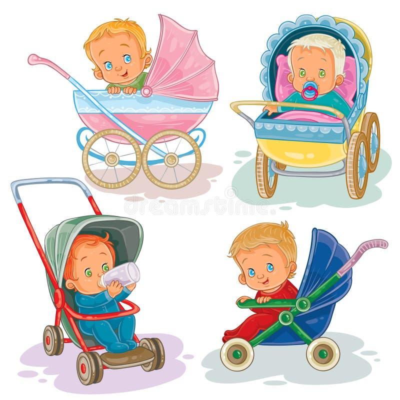 Vastgestelde illustraties van kleine jonge geitjes in een kinderwagen en een wandelwagen vector illustratie