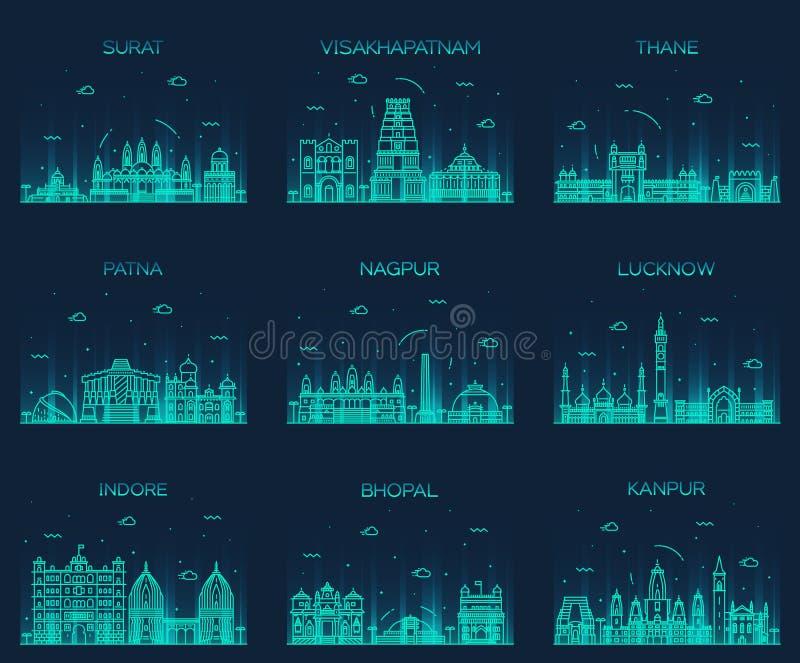 Vastgestelde Indische lineaire steden vectorillustratie royalty-vrije illustratie