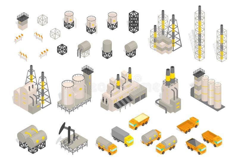 Vastgestelde industriële de bouw en de aanhangwagenlevering van de fabriekeninstallatie Isometrische Vectorillustratie Industriël stock illustratie