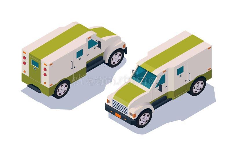 Vastgestelde inzameling, collectorauto voor vervoer, leveringscontant geld, geld stock illustratie