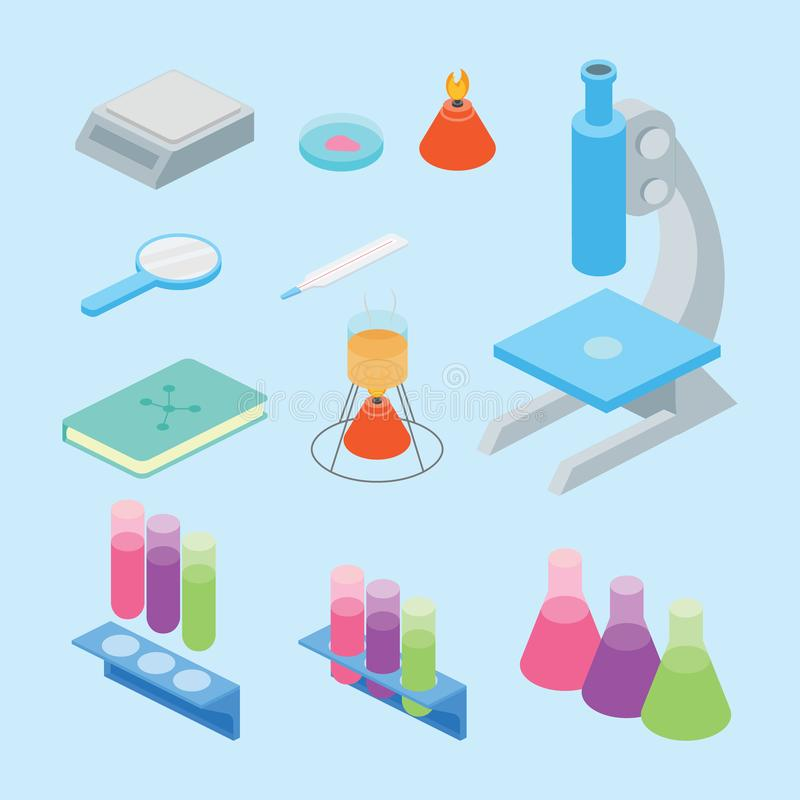 Vastgestelde inzameling van de hulpmiddelen van de laboratoriumwetenschap met isometrische of isometry 3d de stijl blauwe van het royalty-vrije illustratie