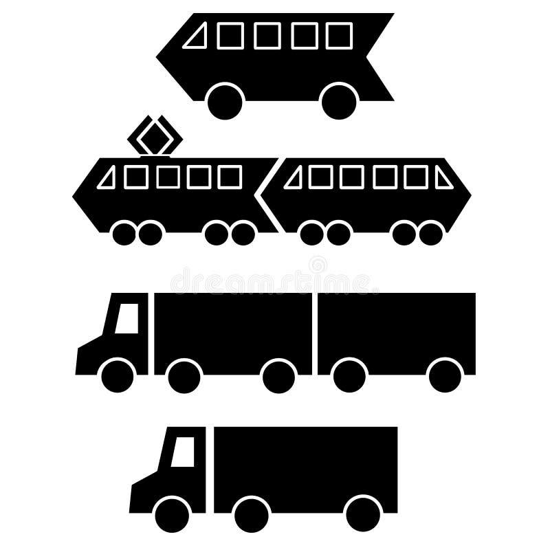 Vastgestelde inzameling van zwarte silhouetten van de trammetro van het stadsverkeer de elektrische aanhangwagen van de treinvrac royalty-vrije illustratie