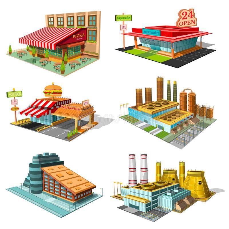 Vastgestelde isometrische gebouwen van koffie, pizzeria, hotel, supermarkt, fabriek, geïsoleerde kernenergieinstallatie stock illustratie