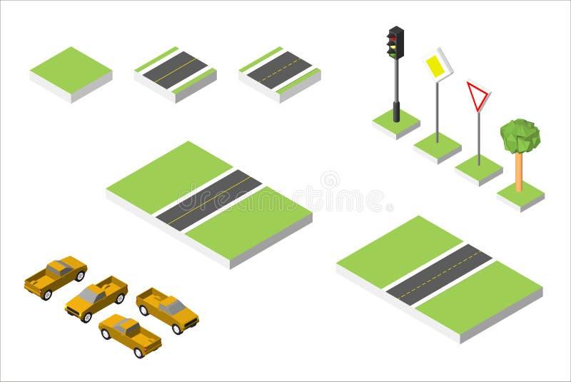 Vastgestelde Isometrische weg en Vectorauto's, Gemeenschappelijk regelgevend verkeer Vectordieillustratie eps 10 op wit wordt geï vector illustratie