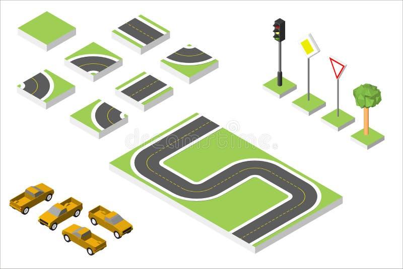 Vastgestelde Isometrische weg en Vectorauto's, Gemeenschappelijk regelgevend verkeer Vectorillustratie eps 10 op wit vector illustratie