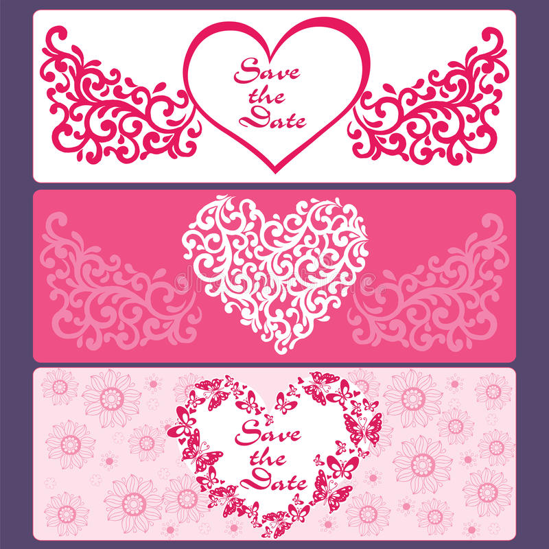 Vastgestelde kaarten van harten, bloemen, vlinders stock illustratie