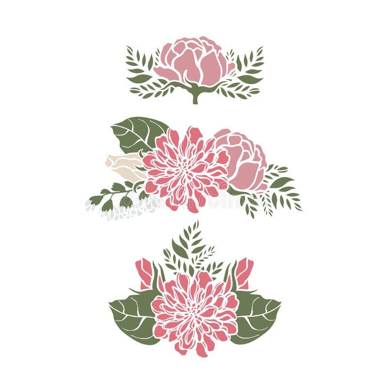 Vastgestelde kaders met van de rozenklokken van bloemenpioenen de leliesvaren stock illustratie