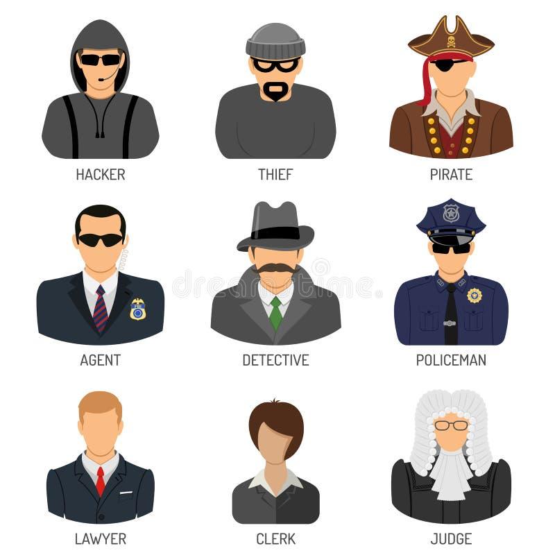 Vastgestelde Karakters van Misdadigers en Wetsuitvoerders stock illustratie