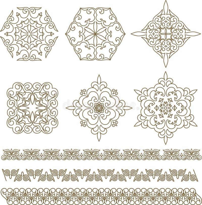 Vastgestelde Kazakh Aziatische ornamenten en patronen stock illustratie