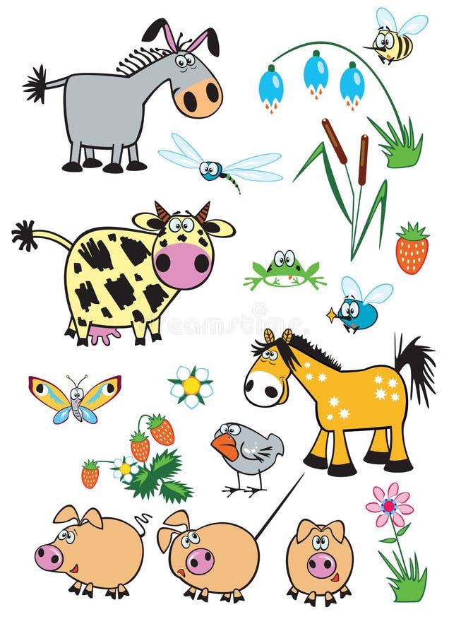 Vastgestelde kinderachtige landbouwbedrijfdieren vector illustratie
