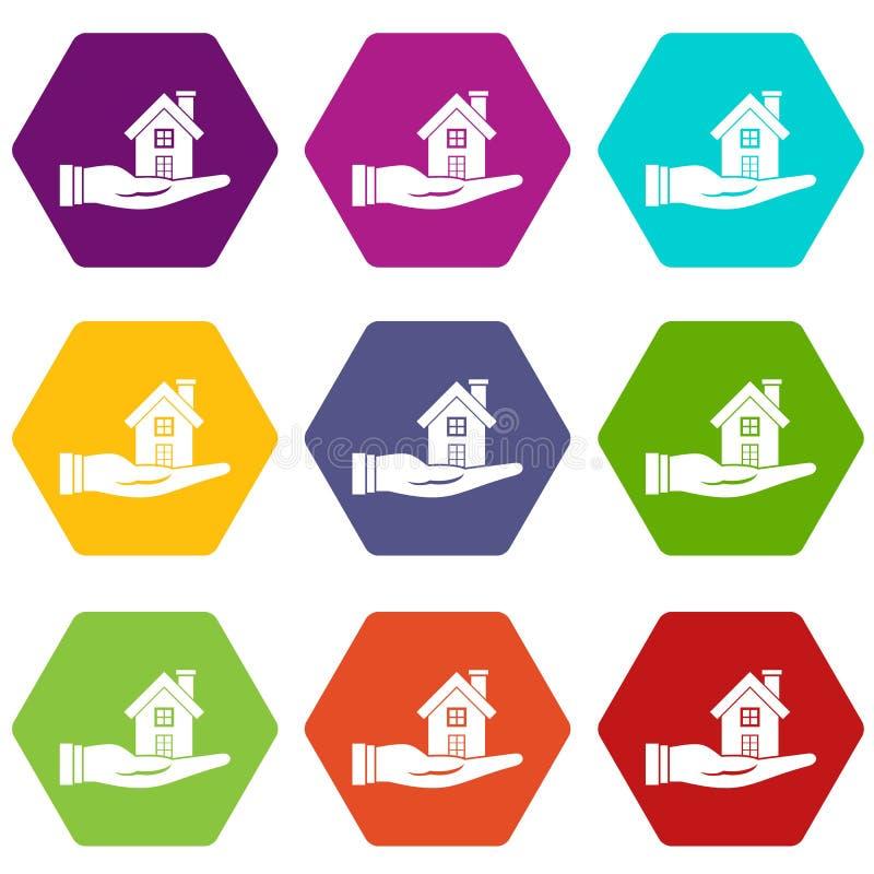 Download Vastgestelde Kleur Van Het Huis In Hand Pictogram Hexahedron Vector Illustratie - Illustratie bestaande uit koop, ontwikkeling: 107707312