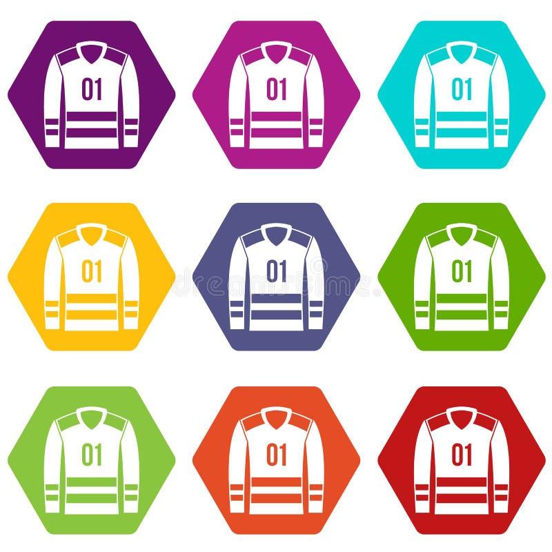Download Vastgestelde Kleur Van Het Sport De Eenvormige Pictogram Hexahedron Vector Illustratie - Illustratie bestaande uit kraag, ventilator: 107708320