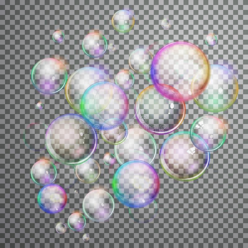 Vastgestelde kleurrijke bel in vector Het geïsoleerde Zeepwater borrelt colle royalty-vrije illustratie